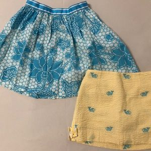 Lot of 2 Lilly Pulitzer Skirts Girls Size 7